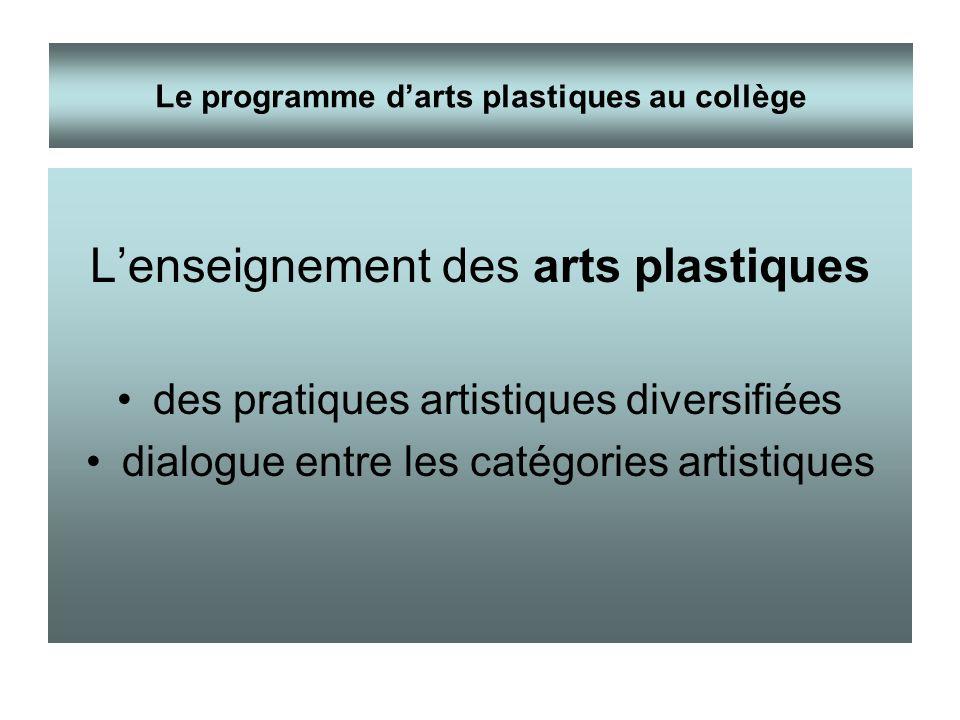 Lenseignement des arts plastiques des pratiques artistiques diversifiées dialogue entre les catégories artistiques Le programme darts plastiques au co