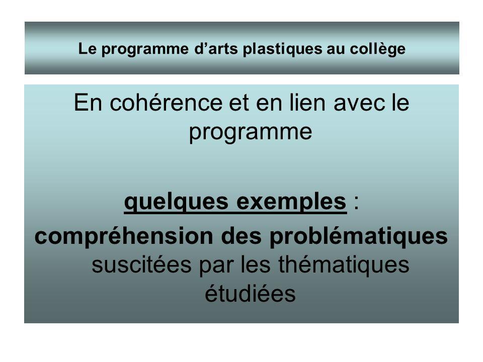 En cohérence et en lien avec le programme quelques exemples : compréhension des problématiques suscitées par les thématiques étudiées Le programme dar