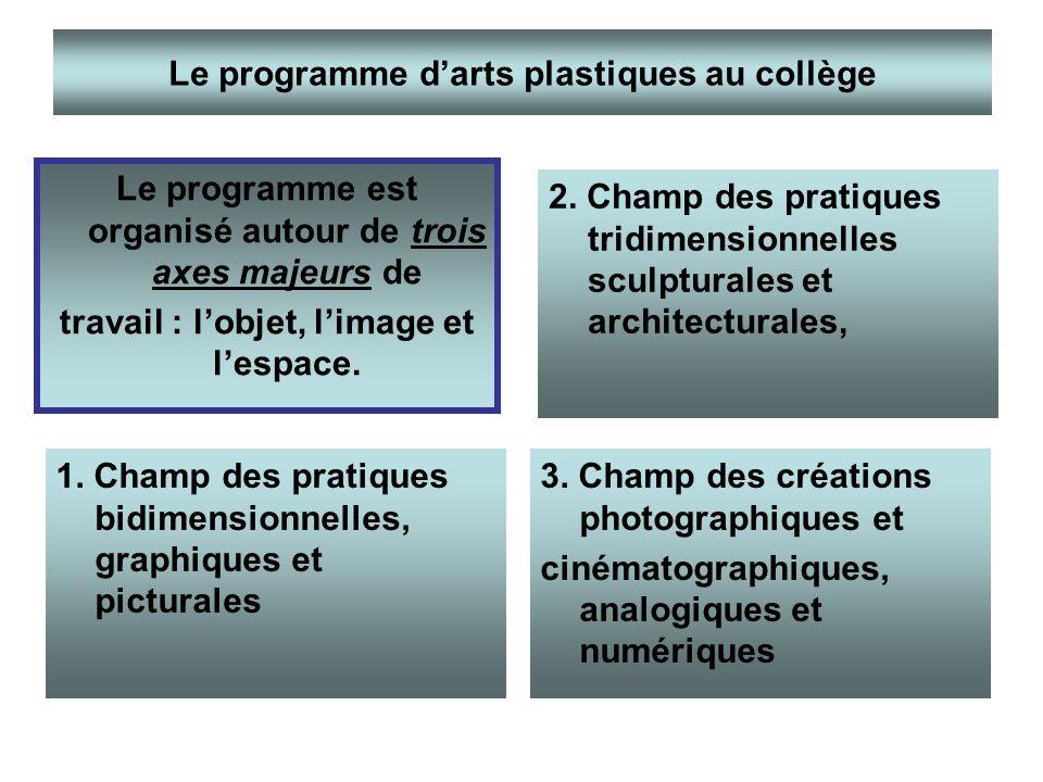 1. Champ des pratiques bidimensionnelles, graphiques et picturales 2. Champ des pratiques tridimensionnelles sculpturales et architecturales, 3. Champ