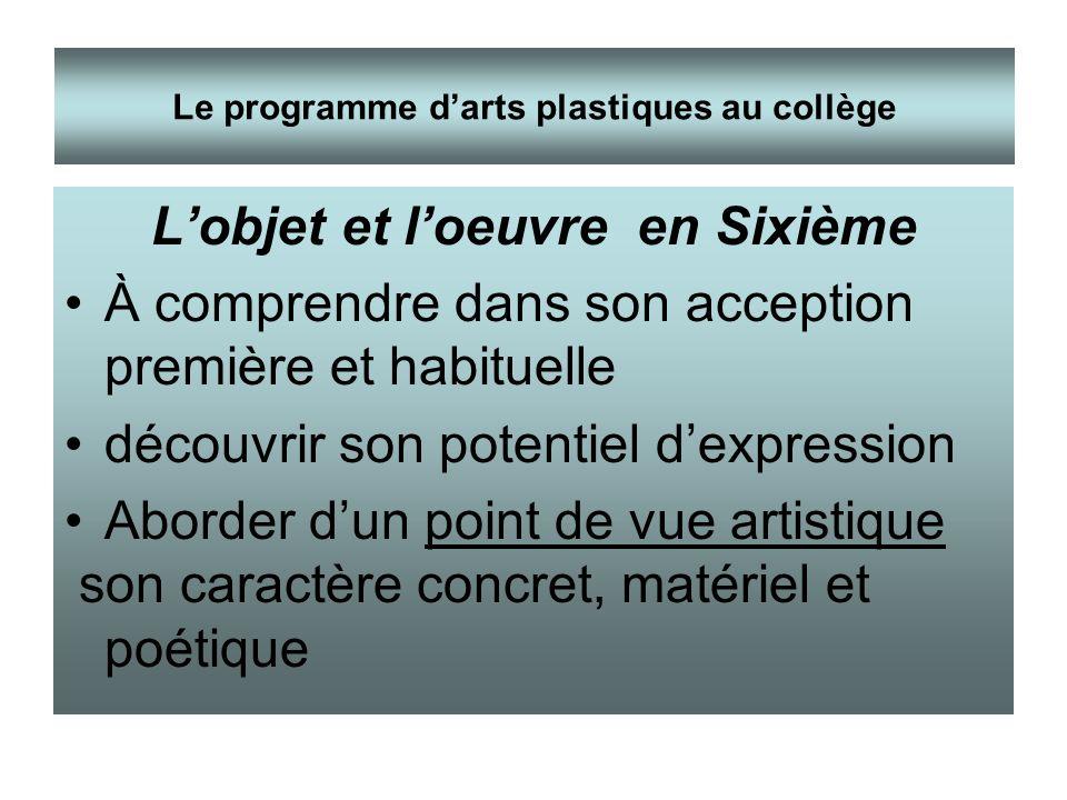 Lobjet et loeuvre en Sixième À comprendre dans son acception première et habituelle découvrir son potentiel dexpression Aborder dun point de vue artis