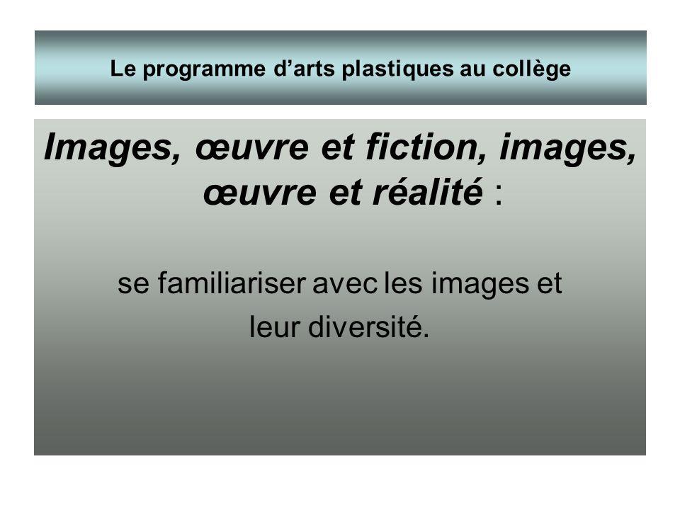 Images, œuvre et fiction, images, œuvre et réalité : se familiariser avec les images et leur diversité. Le programme darts plastiques au collège