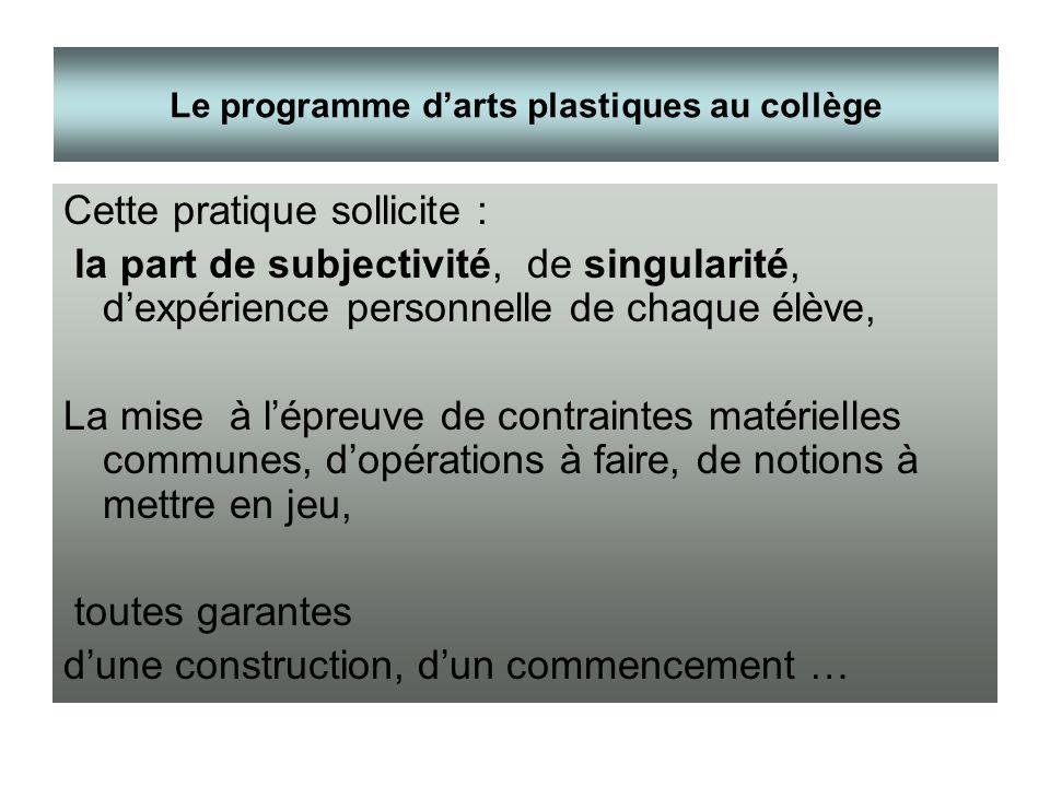 Cette pratique sollicite : la part de subjectivité, de singularité, dexpérience personnelle de chaque élève, La mise à lépreuve de contraintes matérie