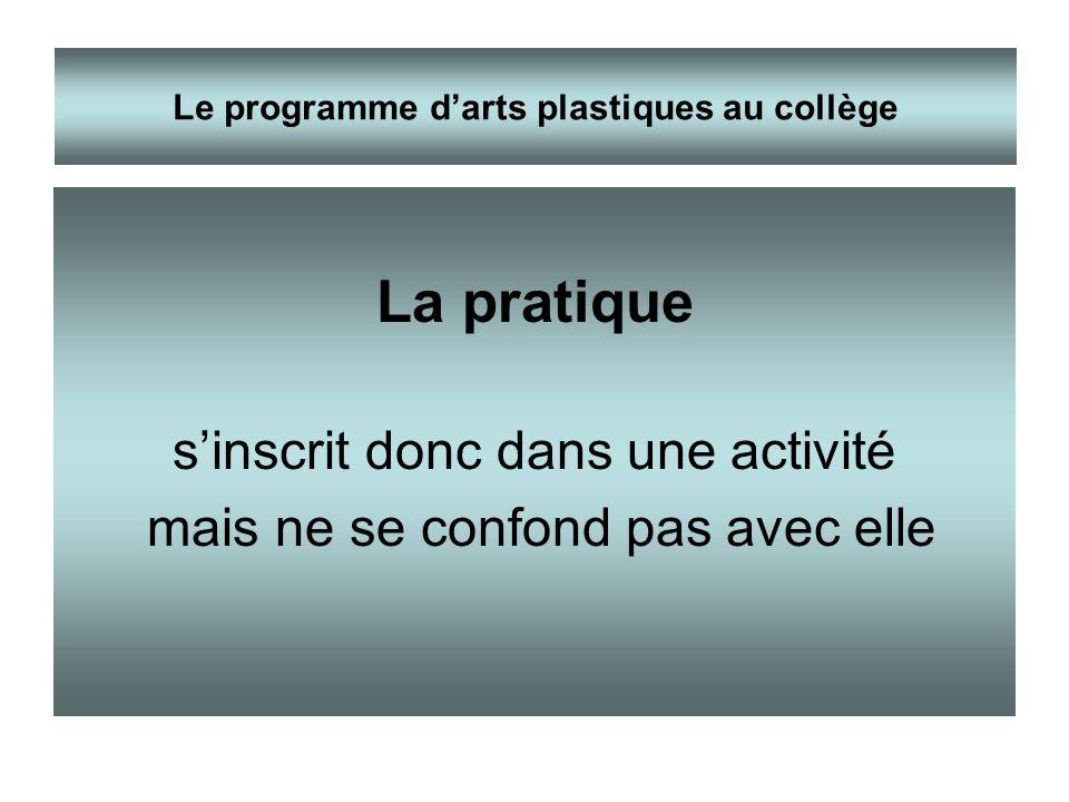 La pratique sinscrit donc dans une activité mais ne se confond pas avec elle Le programme darts plastiques au collège