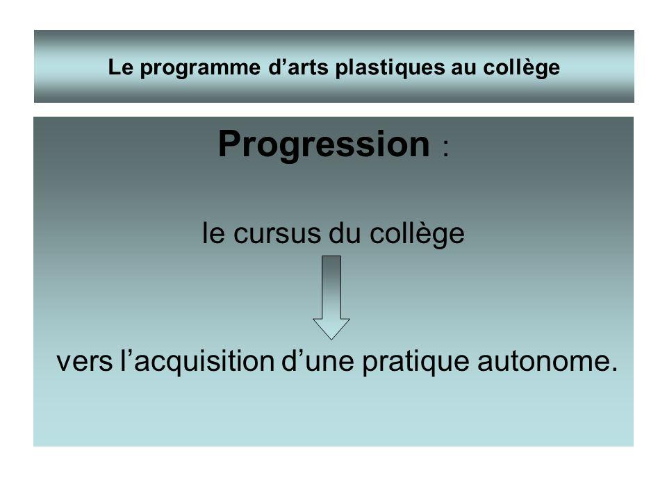 Progression : le cursus du collège vers lacquisition dune pratique autonome. Le programme darts plastiques au collège