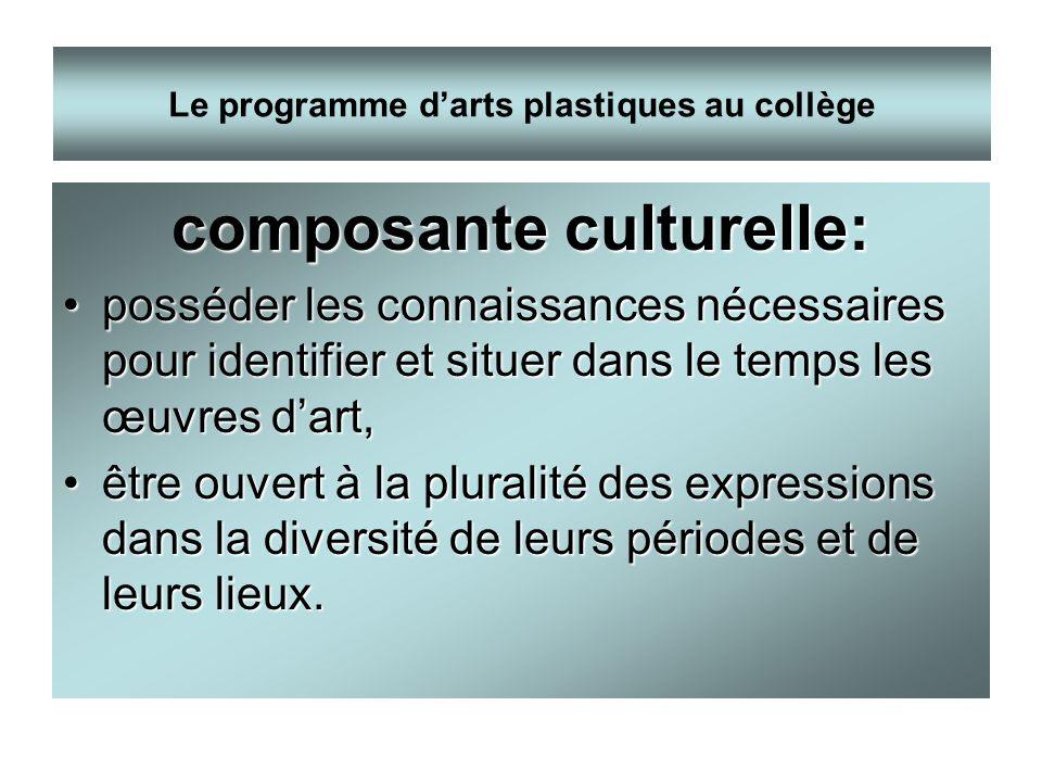 composante culturelle: posséder les connaissances nécessaires pour identifier et situer dans le temps les œuvres dart,posséder les connaissances néces