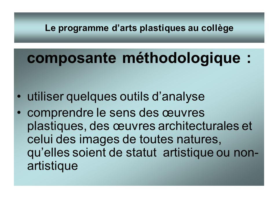 composante méthodologique : utiliser quelques outils danalyse comprendre le sens des œuvres plastiques, des œuvres architecturales et celui des images