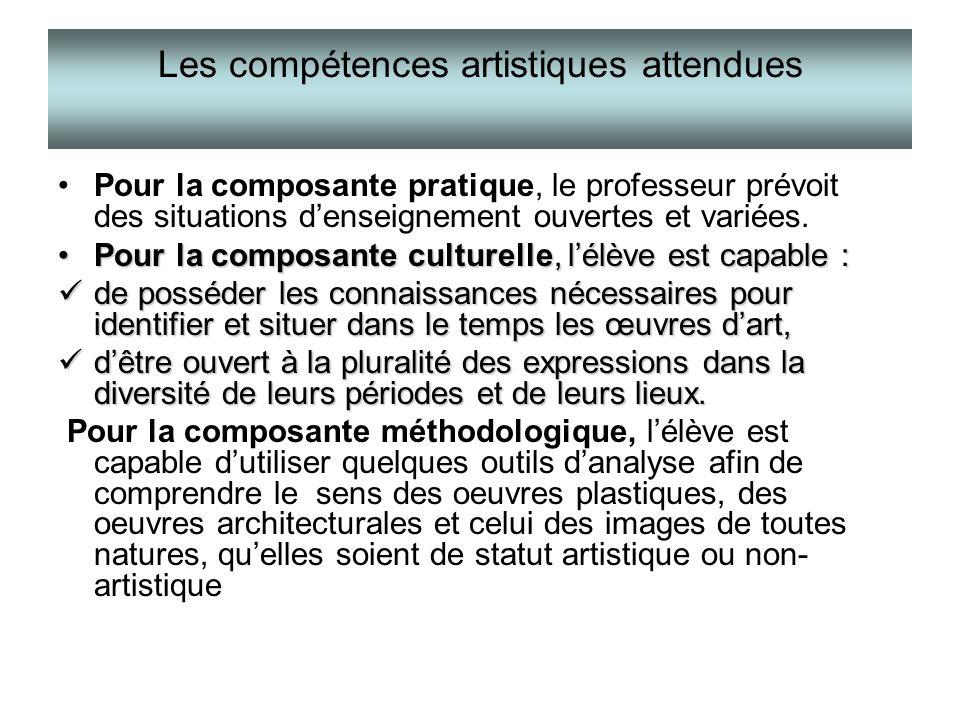 Les compétences artistiques attendues Pour la composante pratique, le professeur prévoit des situations denseignement ouvertes et variées. Pour la com