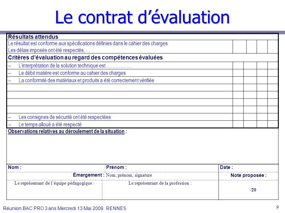 Le contrat dévaluation 9 Résultats attendus Le résultat est conforme aux spécifications définies dans le cahier des charges. Les délais imposés ont ét