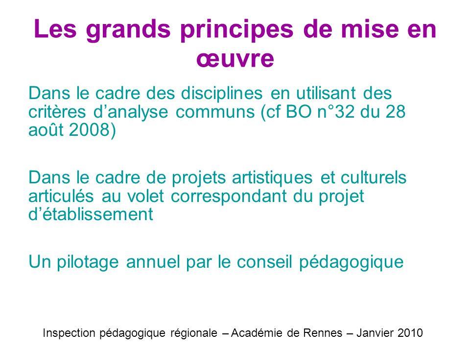Les grands principes de mise en œuvre Dans le cadre des disciplines en utilisant des critères danalyse communs (cf BO n°32 du 28 août 2008) Dans le ca