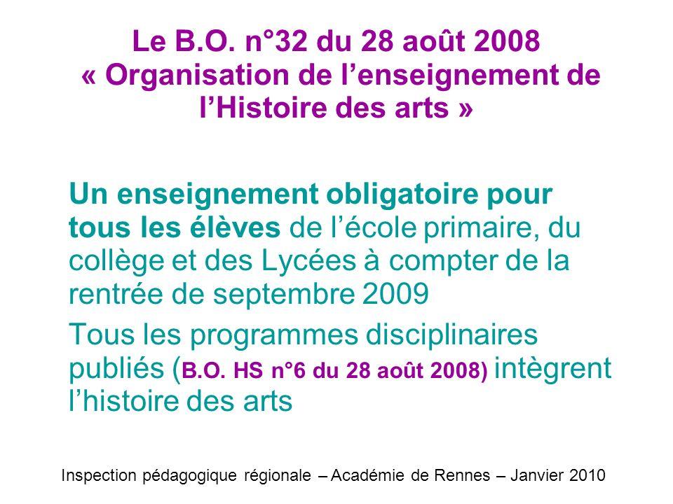Le B.O. n°32 du 28 août 2008 « Organisation de lenseignement de lHistoire des arts » Un enseignement obligatoire pour tous les élèves de lécole primai