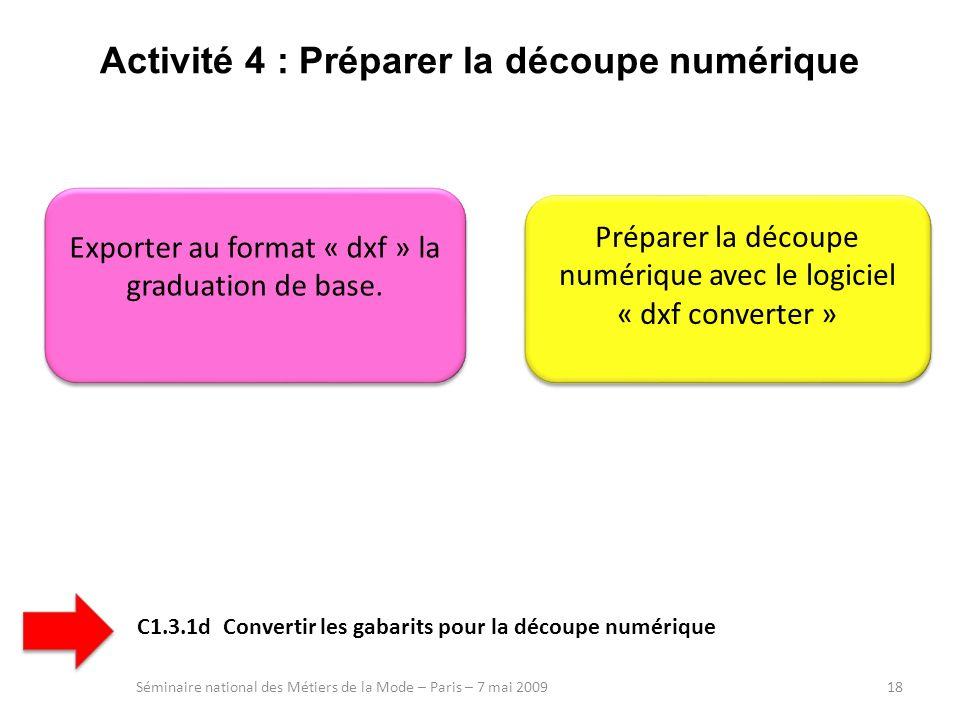 Activité 4 : Préparer la découpe numérique Séminaire national des Métiers de la Mode – Paris – 7 mai 200918 Exporter au format « dxf » la graduation d