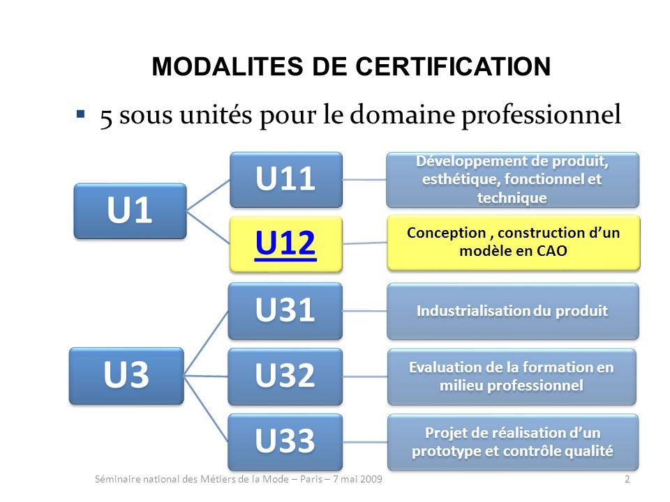 2 MODALITES DE CERTIFICATION 5 sous unités pour le domaine professionnel Séminaire national des Métiers de la Mode – Paris – 7 mai 2009