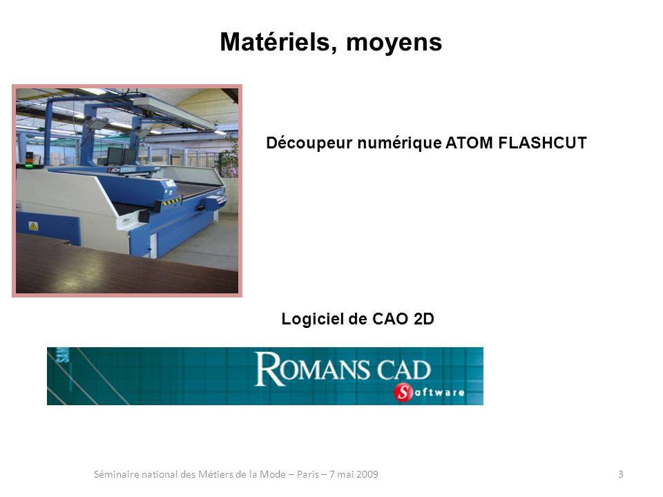 Matériels, moyens Séminaire national des Métiers de la Mode – Paris – 7 mai 20093 Logiciel de CAO 2D Découpeur numérique ATOM FLASHCUT