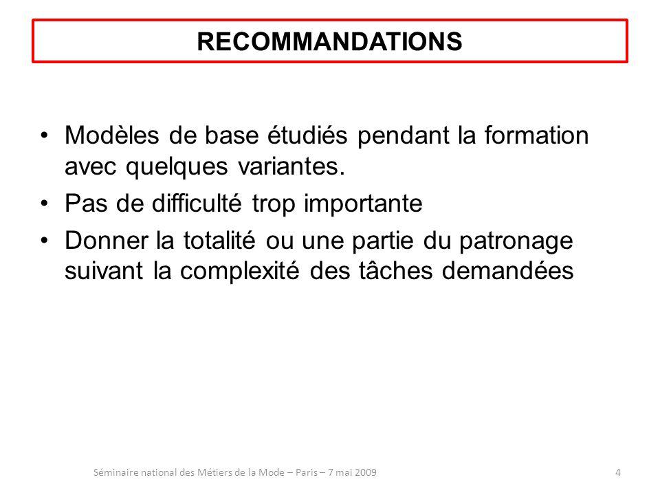 RECOMMANDATIONS Modèles de base étudiés pendant la formation avec quelques variantes. Pas de difficulté trop importante Donner la totalité ou une part