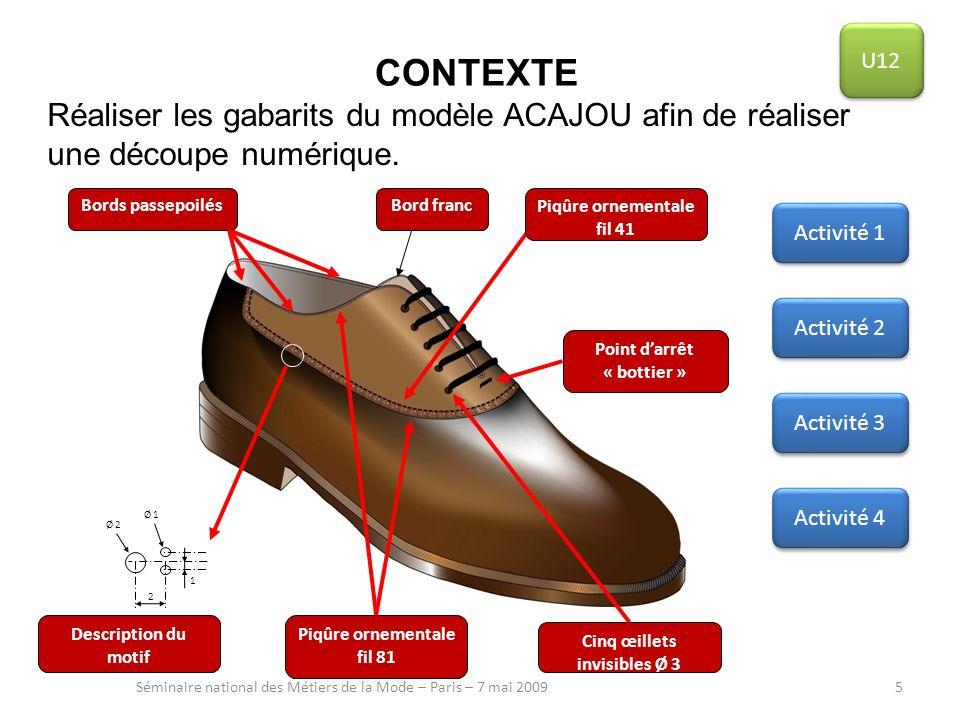 CONTEXTE Réaliser les gabarits du modèle ACAJOU afin de réaliser une découpe numérique. Séminaire national des Métiers de la Mode – Paris – 7 mai 2009
