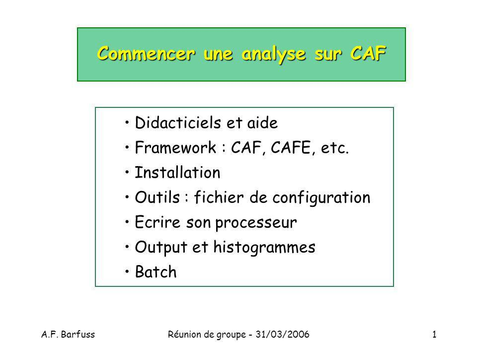 A.F. BarfussRéunion de groupe - 31/03/20061 Commencer une analyse sur CAF Didacticiels et aide Framework : CAF, CAFE, etc. Installation Outils : fichi