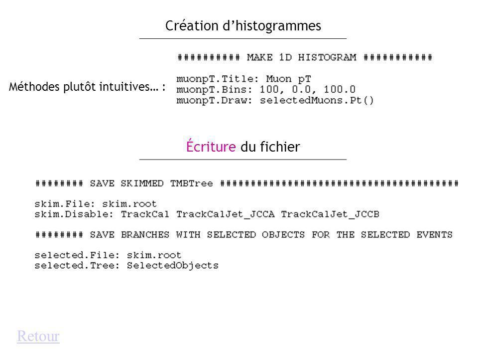 Méthodes plutôt intuitives… : Création dhistogrammes Écriture du fichier Retour