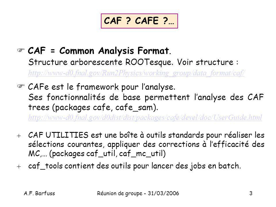 A.F.BarfussRéunion de groupe - 31/03/20063 CAF . CAFE ?… CAF = Common Analysis Format.