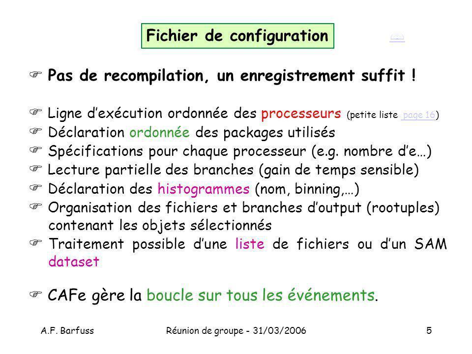 A.F. BarfussRéunion de groupe - 31/03/20065 Pas de recompilation, un enregistrement suffit .