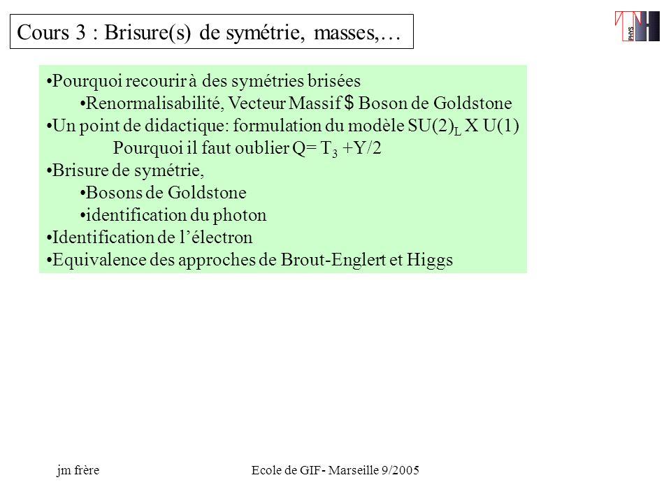 jm frèreEcole de GIF- Marseille 9/2005 Cours 3 : Brisure(s) de symétrie, masses,… Pourquoi recourir à des symétries brisées Renormalisabilité, Vecteur Massif $ Boson de Goldstone Un point de didactique: formulation du modèle SU(2) L X U(1) Pourquoi il faut oublier Q= T 3 +Y/2 Brisure de symétrie, Bosons de Goldstone identification du photon Identification de lélectron Equivalence des approches de Brout-Englert et Higgs