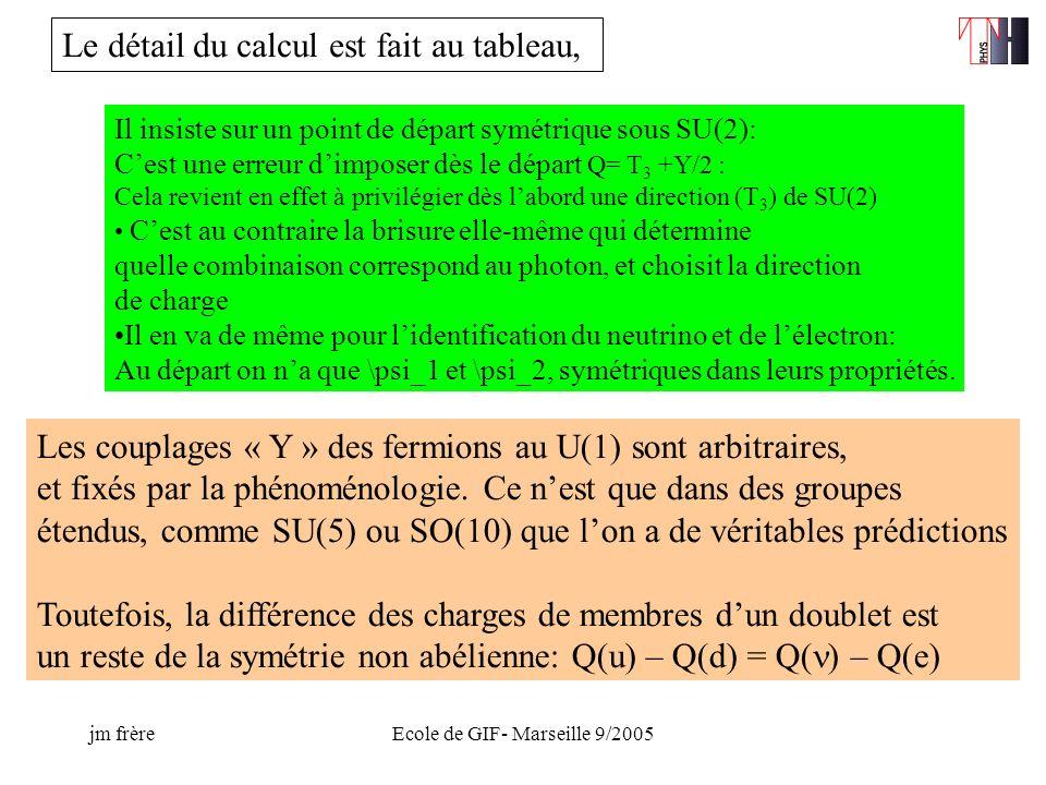 jm frèreEcole de GIF- Marseille 9/2005 Il insiste sur un point de départ symétrique sous SU(2): Cest une erreur dimposer dès le départ Q= T 3 +Y/2 : Cela revient en effet à privilégier dès labord une direction (T 3 ) de SU(2) Cest au contraire la brisure elle-même qui détermine quelle combinaison correspond au photon, et choisit la direction de charge Il en va de même pour lidentification du neutrino et de lélectron: Au départ on na que \psi_1 et \psi_2, symétriques dans leurs propriétés.