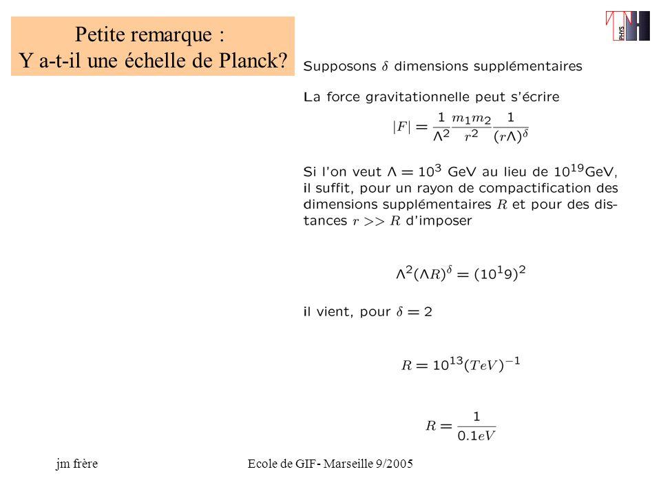 jm frèreEcole de GIF- Marseille 9/2005 Petite remarque : Y a-t-il une échelle de Planck