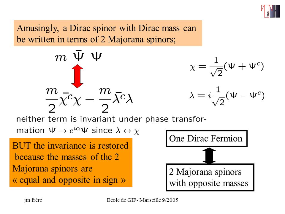 jm frèreEcole de GIF- Marseille 9/2005 Amusingly, a Dirac spinor with Dirac mass can be written in terms of 2 Majorana spinors; BUT the invariance is restored because the masses of the 2 Majorana spinors are « equal and opposite in sign » One Dirac Fermion 2 Majorana spinors with opposite masses