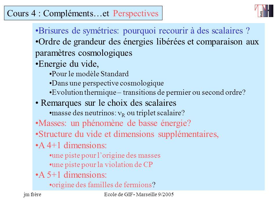 jm frèreEcole de GIF- Marseille 9/2005 Cours 4 : Compléments…et Perspectives Brisures de symétries: pourquoi recourir à des scalaires .