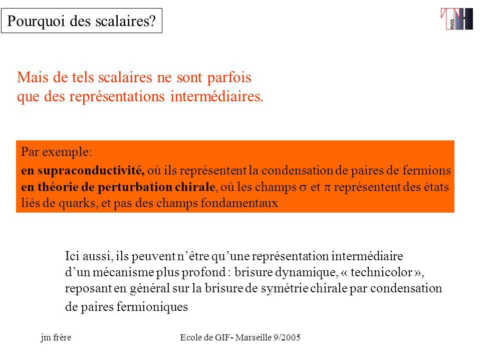 jm frèreEcole de GIF- Marseille 9/2005 Mais de tels scalaires ne sont parfois que des représentations intermédiaires.