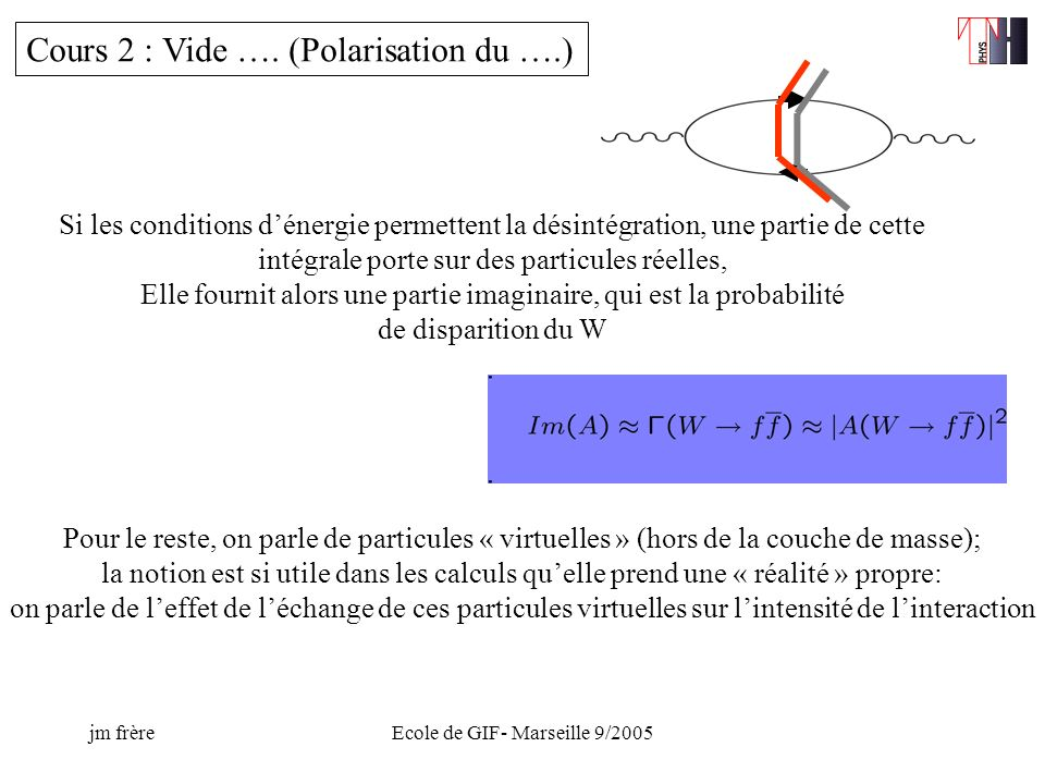 jm frèreEcole de GIF- Marseille 9/2005 The 5-dim m is not the physical mass, but leads to different localisations of fermion fields Overlap = determines fermion masses and mixings In principle, not very attractive: just map mass patterns into cartography of the extra dimension, with strong sensitivity due to the « gaussian tails »…..