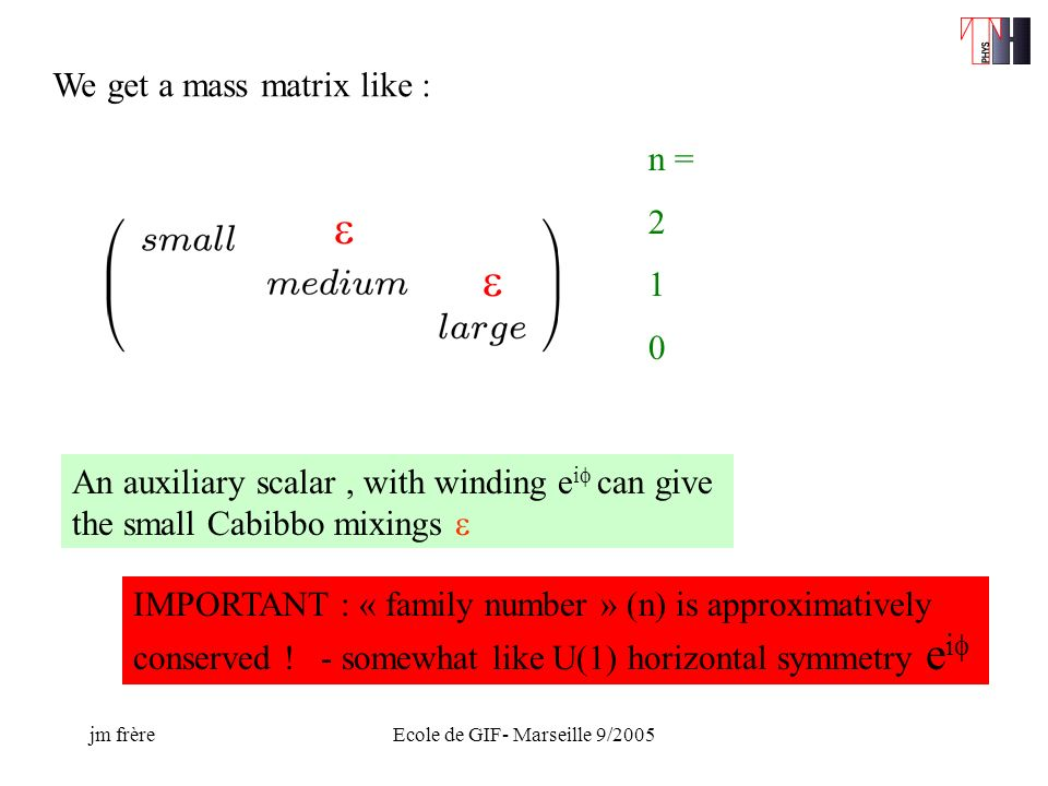 jm frèreEcole de GIF- Marseille 9/2005 We get a mass matrix like : n = 2 1 0 An auxiliary scalar, with winding e i can give the small Cabibbo mixings IMPORTANT : « family number » (n) is approximatively conserved .