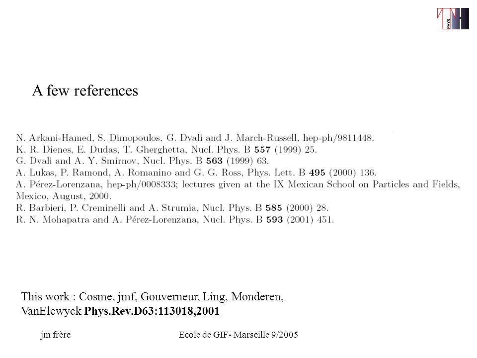jm frèreEcole de GIF- Marseille 9/2005 A few references This work : Cosme, jmf, Gouverneur, Ling, Monderen, VanElewyck Phys.Rev.D63:113018,2001