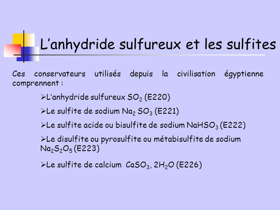Lanhydride sulfureux et les sulfites Ces conservateurs utilisés depuis la civilisation égyptienne comprennent : Lanhydride sulfureux SO 2 (E220) Le su