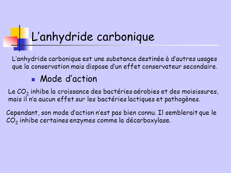 Lanhydride carbonique Lanhydride carbonique est une substance destinée à dautres usages que la conservation mais dispose dun effet conservateur second