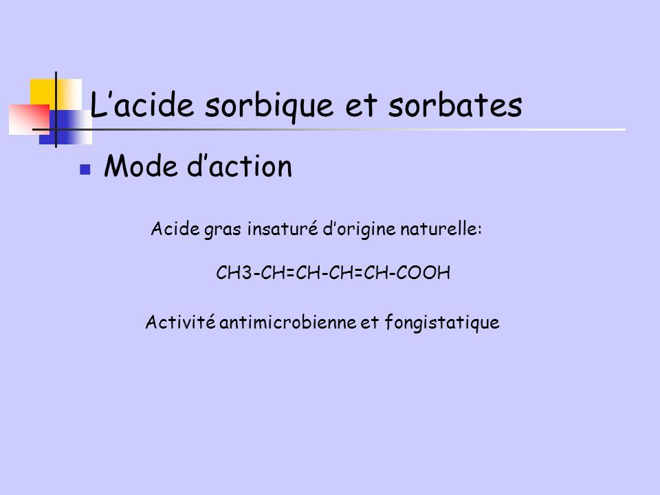 Mode daction Acide gras insaturé dorigine naturelle: CH3-CH=CH-CH=CH-COOH Activité antimicrobienne et fongistatique Lacide sorbique et sorbates