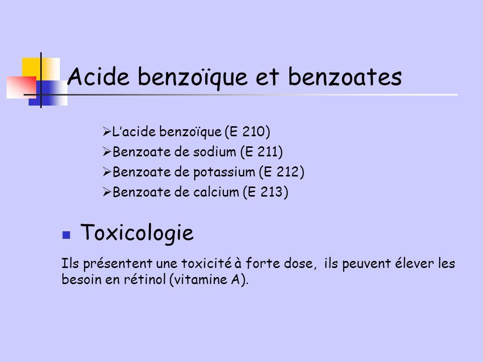 Toxicologie Ils présentent une toxicité à forte dose, ils peuvent élever les besoin en rétinol (vitamine A). Lacide benzoïque (E 210) Benzoate de sodi