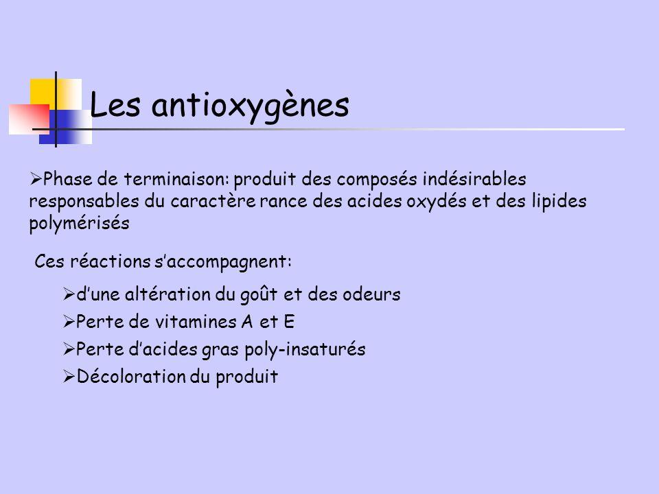 Phase de terminaison: produit des composés indésirables responsables du caractère rance des acides oxydés et des lipides polymérisés Ces réactions sac