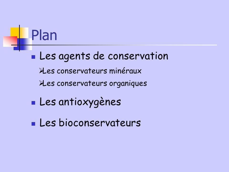 Plan Les agents de conservation Les conservateurs minéraux Les conservateurs organiques Les antioxygènes Les bioconservateurs