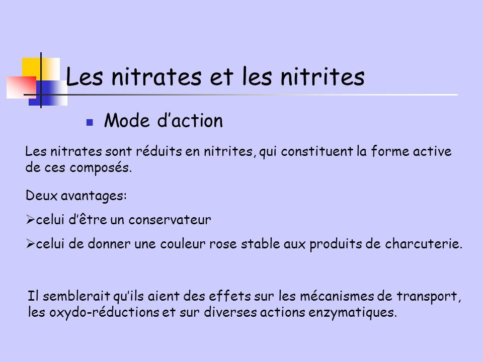 Mode daction Les nitrates sont réduits en nitrites, qui constituent la forme active de ces composés. Deux avantages: celui dêtre un conservateur celui