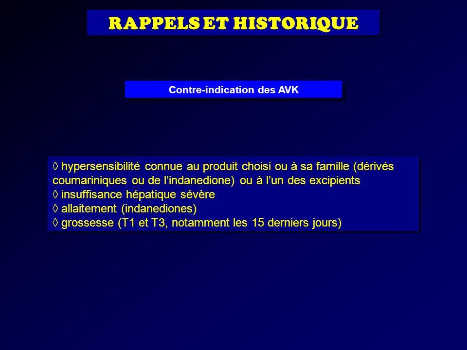 hypersensibilité connue au produit choisi ou à sa famille (dérivés coumariniques ou de lindanedione) ou à lun des excipients insuffisance hépatique sé