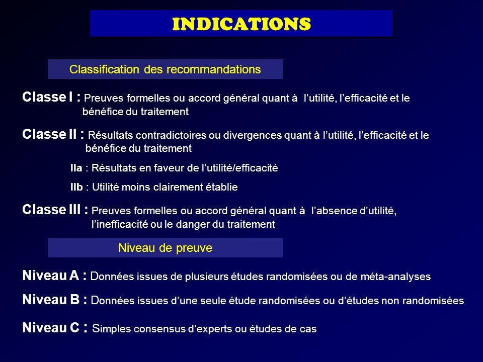 Classification des recommandations Classe I : Preuves formelles ou accord général quant à lutilité, lefficacité et le bénéfice du traitement Classe II