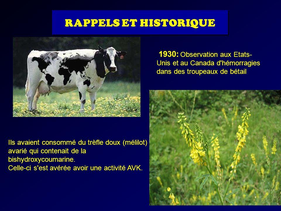 1930: Observation aux Etats- Unis et au Canada d'hémorragies dans des troupeaux de bétail Ils avaient consommé du trèfle doux (mélilot) avarié qui con