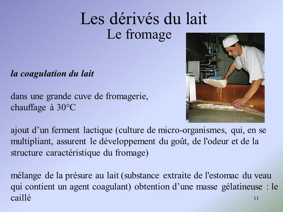 11 Les dérivés du lait Le fromage la coagulation du lait dans une grande cuve de fromagerie, chauffage à 30°C ajout dun ferment lactique (culture de m