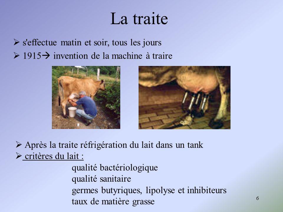 6 La traite Après la traite réfrigération du lait dans un tank critères du lait : qualité bactériologique qualité sanitaire germes butyriques, lipolys