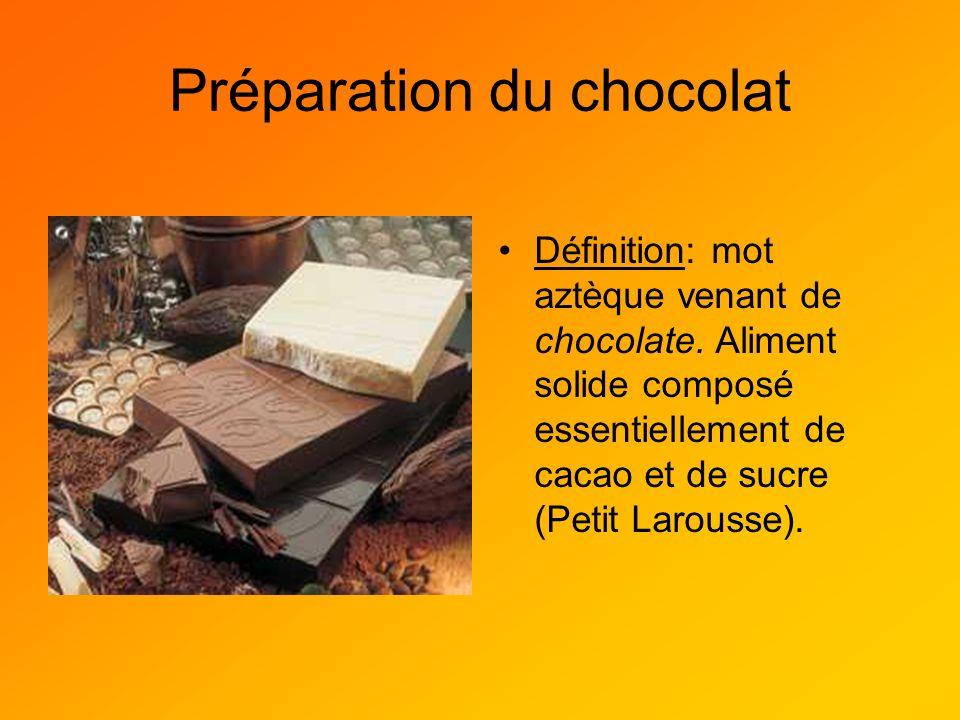 Préparation du chocolat Définition: mot aztèque venant de chocolate. Aliment solide composé essentiellement de cacao et de sucre (Petit Larousse).