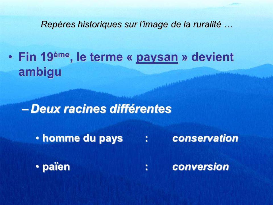 Fin 19 ème, le terme « paysan » devient ambiguFin 19 ème, le terme « paysan » devient ambigu –Deux racines différentes homme du pays: conservationhomm