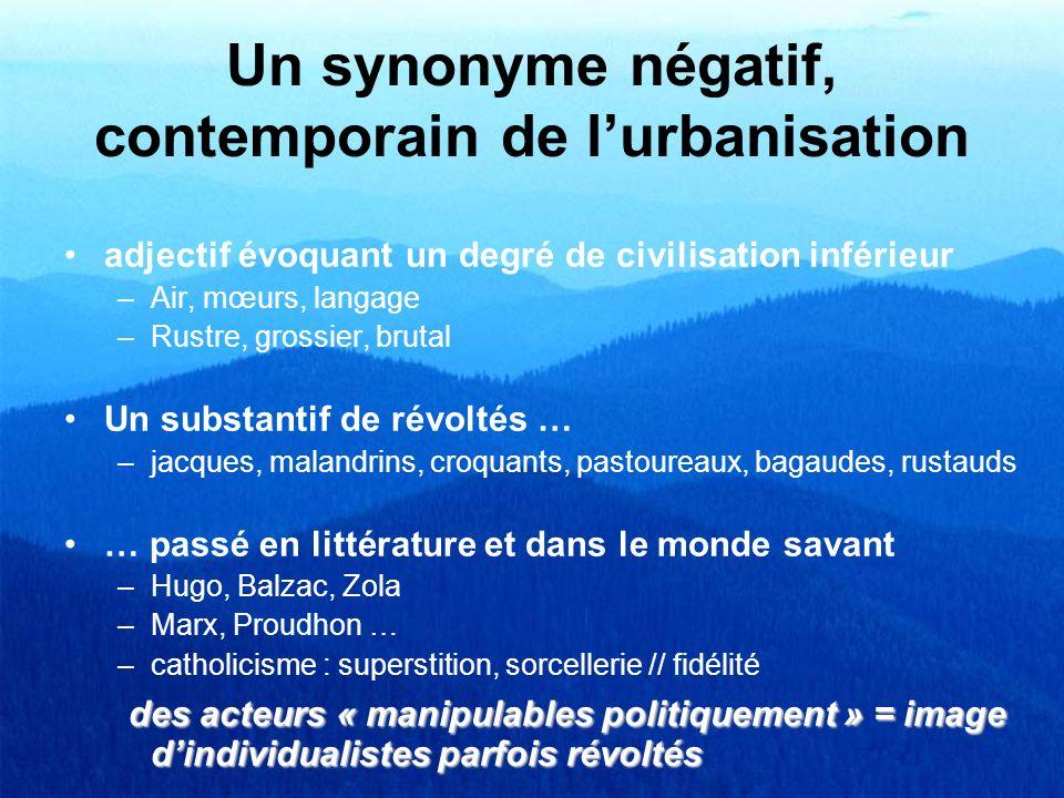 Un synonyme négatif, contemporain de lurbanisation adjectif évoquant un degré de civilisation inférieur –Air, mœurs, langage –Rustre, grossier, brutal