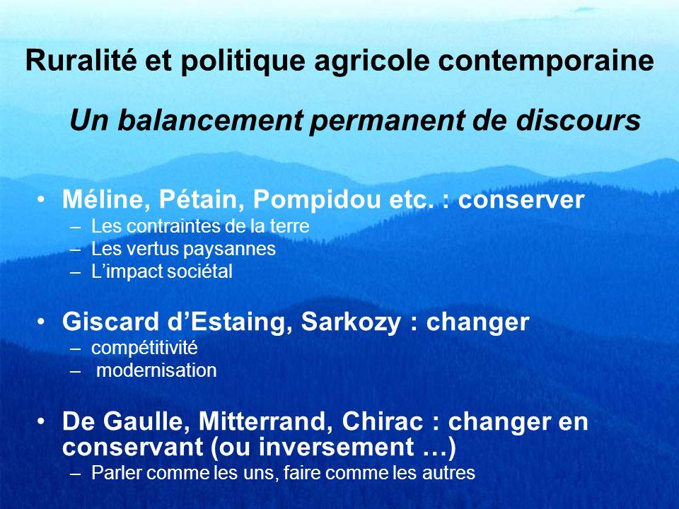 Un balancement permanent de discours Méline, Pétain, Pompidou etc. : conserver –Les contraintes de la terre –Les vertus paysannes –Limpact sociétal Gi