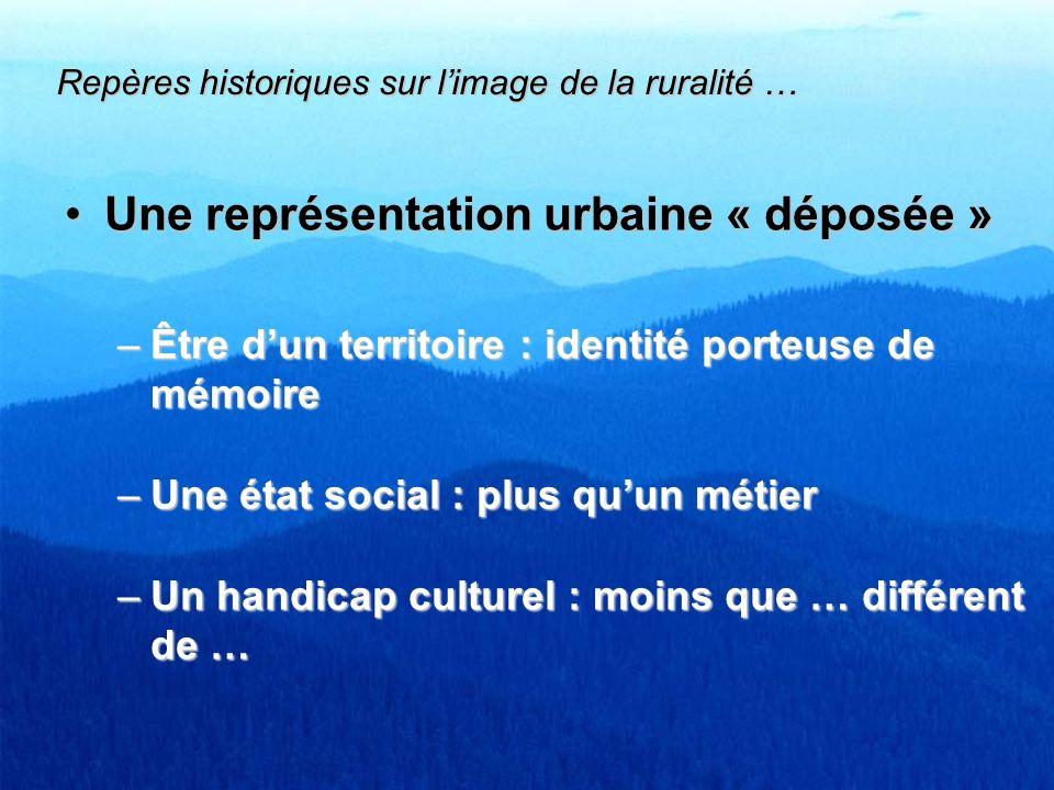 Une représentation urbaine « déposée »Une représentation urbaine « déposée » –Être dun territoire : identité porteuse de mémoire –Une état social : pl