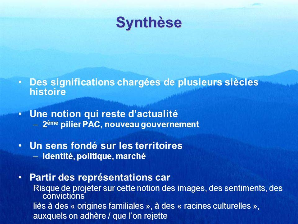 Synthèse Des significations chargées de plusieurs siècles histoire Une notion qui reste dactualité –2 ème pilier PAC, nouveau gouvernement Un sens fon